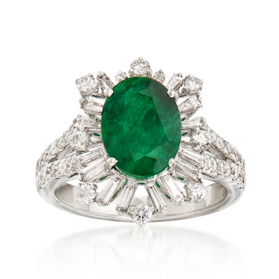 2.60 Carat Emerald and .98 ct. t.w. Diamond Starburst Halo Ring in 18kt White Gold, , default