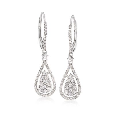 .70 ct. t.w. Diamond Pear-Shaped Illusion Earrings in 14kt White Gold, , default