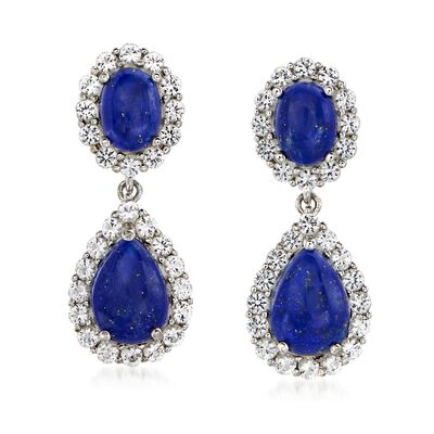 Lapis and 2.20 ct. t.w. White Topaz Double- Drop Earrings in Sterling Silver