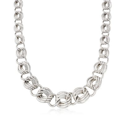 Sterling Silver Graduated Triple-Link Necklace, , default