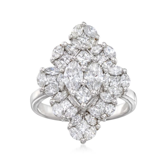 2.21 ct. t.w. Marquise-Shaped Diamond Ring in 14kt White Gold