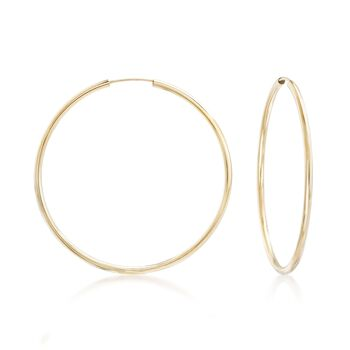 "2mm 14kt Yellow Gold Endless Hoop Earrings. 1 7/8"", , default"