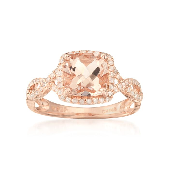 1.95 ct. t.w. Morganite Ring with .30 ct. t.w. Diamonds in Rose Vermeil. Size 9, , default