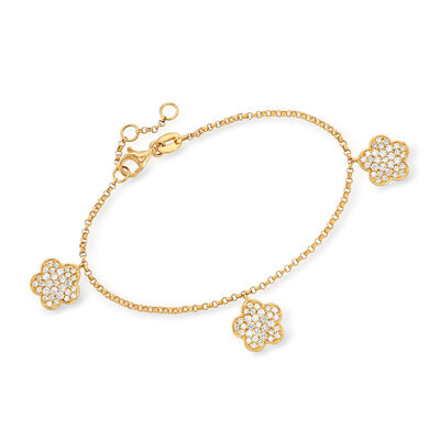 1.10 ct. t.w. Diamond Flower Bracelet in 18kt Yellow Gold, , default