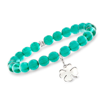 Italian Green Murano Glass Bead Stretch Bracelet with Sterling Silver Clover Charm, , default