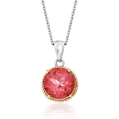 3.60 Carat Pink Quartz Pendant Necklace in Sterling Silver and 14kt Yellow Gold, , default