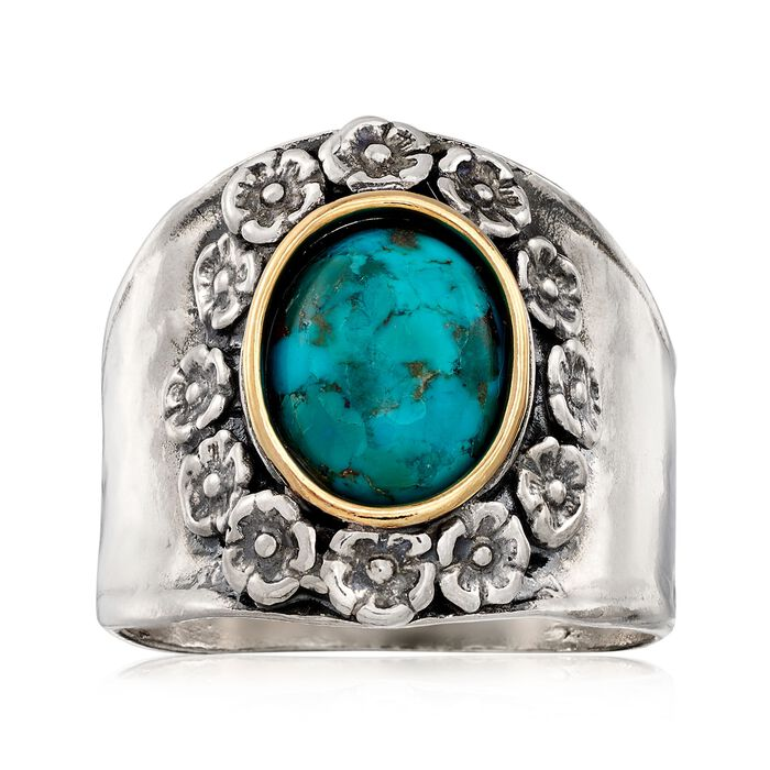 Bezel-Set Turquoise Flower Ring in Sterling Silver and 14kt Gold, , default