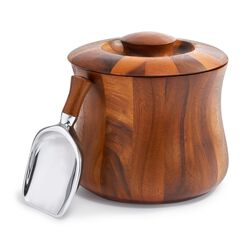 "Nambe ""Nara"" Acacia Wooden Ice Bucket With Scoop, , default"