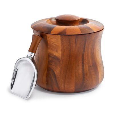 "Nambe ""Nara"" Acacia Wooden Ice Bucket With Scoop, , default"