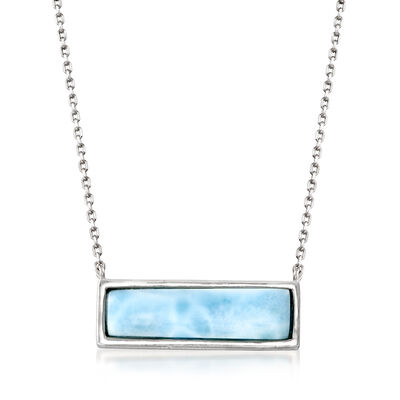 Larimar Bar Necklace in Sterling Silver, , default