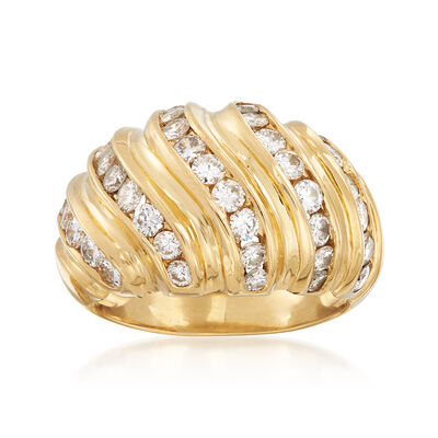 C. 1990 Vintage 1.75 ct. t.w. Diamond Wave Ring in 14kt Yellow Gold