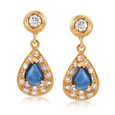 C. 1970 Vintage Sugarloaf 2.50 ct. t.w. Sapphire Clips Earrings With 1.00 ct. t.w. Diamonds in 18kt Yellow Gold, , default