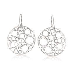Sterling Silver Bubble Disc Earrings, , default