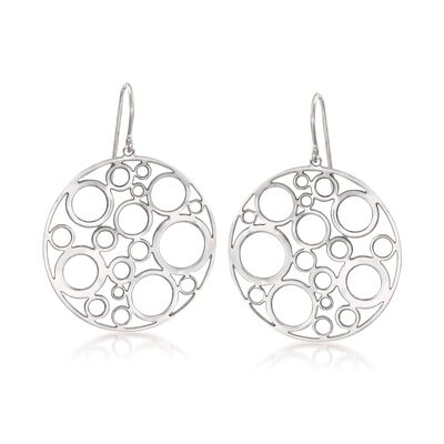 Sterling Silver Bubble Disc Earrings, , default