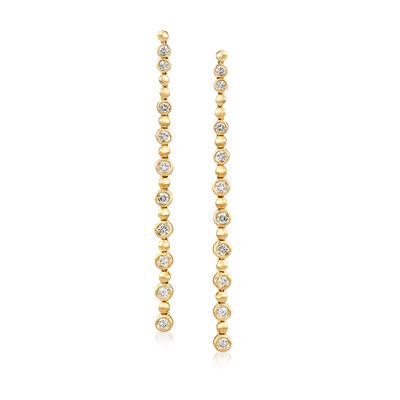 1.25 ct. t.w. Diamond Linear Drop Earrings in 14kt Yellow Gold, , default