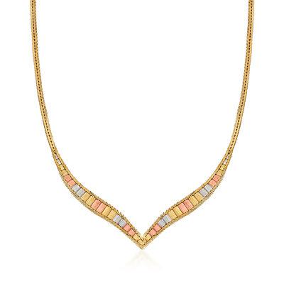 C. 1980 Vintage 14kt Tri-Colored Gold Chevron Necklace