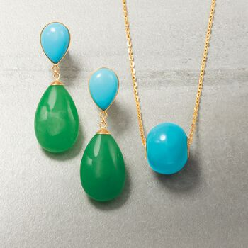 16mm Simulated Turquoise Bead Pendant in 14kt Gold