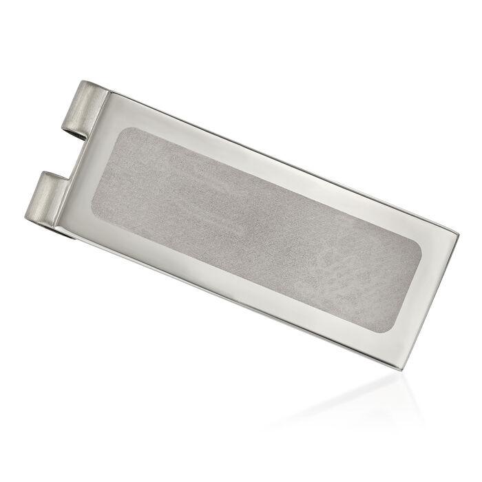Stainless Steel Polished Laser-Cut Center Money Clip, , default