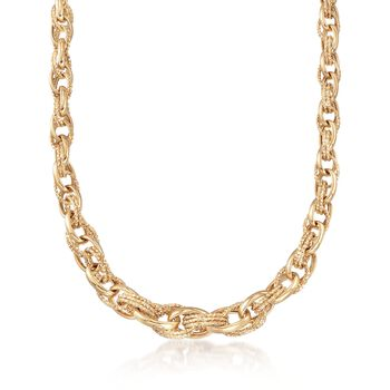 18kt Yellow Gold Polished and Textured Graduated Link Necklace, , default