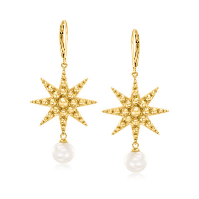 8-8.5mm Cultured Freshwater Pearl Starburst Drop Earrings in 18kt Gold Over Sterling