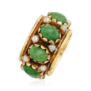 C. 1970 Vintage Green Nephrite and Seed Pearl Ring in 14kt Yellow Gold. Size 7, , default