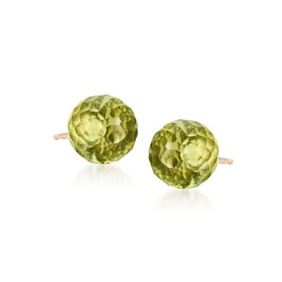 3.80 ct. t.w. Peridot Stud Earrings in 14kt Yellow Gold, , default
