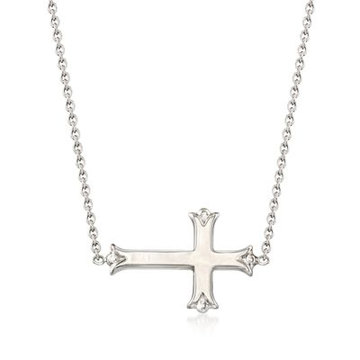 Sterling Silver Sideways Budded Cross Necklace, , default