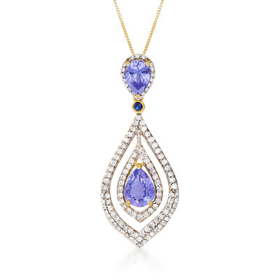 2.70 ct. t.w. Tanzanite and .87 ct. t.w. Diamond Pendant Necklace with Sapphire Accent in 14kt Yellow Gold