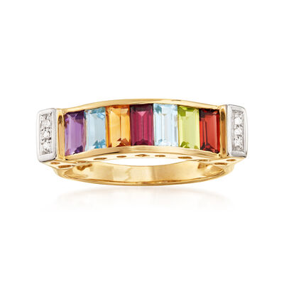 1.50 ct. t.w. Multi-Gemstone Ring with Diamond Accents in 14kt Yellow Gold, , default