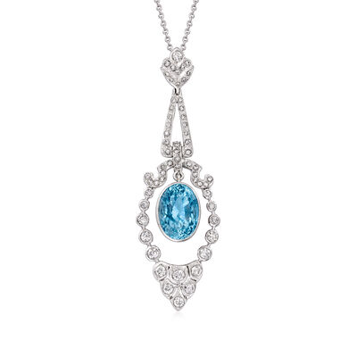 C. 1990 Vintage 4.40 Carat Aquamarine and .75 ct. t.w. Diamond Pendant Necklace in 18kt White Gold