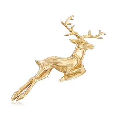 Italian Reindeer Pin in 18kt Yellow Gold Over Sterling Silver, , default