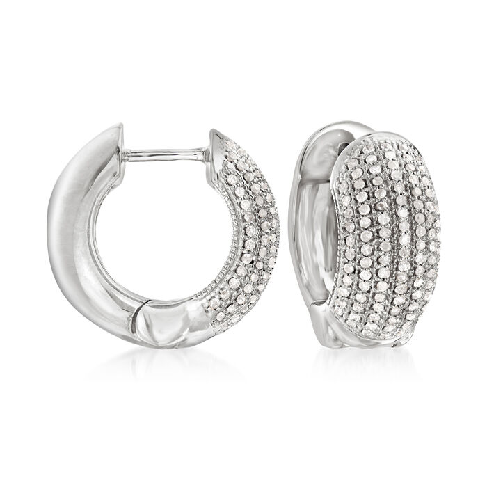 .50 ct. t.w. Diamond Multi-Row Diamond Hoop Earrings in Sterling Silver. 1/2""