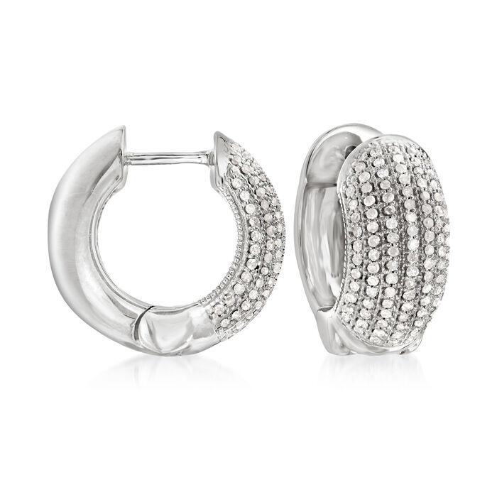 """.50 ct. t.w. Diamond Multi-Row Diamond Hoop Earrings in Sterling Silver. 1/2"""", , default"""