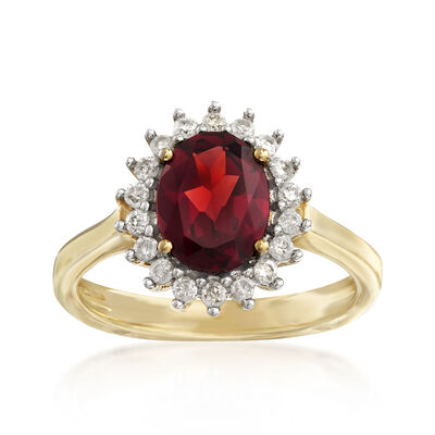 2.10 Carat Garnet and .25 ct. t.w. Diamond Ring in 14kt Yellow Gold, , default