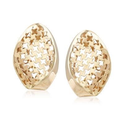 Italian 14kt Yellow Gold Wavy Filigree Earrings, , default