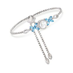 7-7.5mm Cultured Pearl and 1.20 ct. t.w. Blue and White Topaz Bolo Bracelet in Sterling Silver, , default