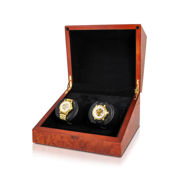 """""""Sparta Deluxe"""" Burl Finish Double Watch Winder with Cover by Orbita"""