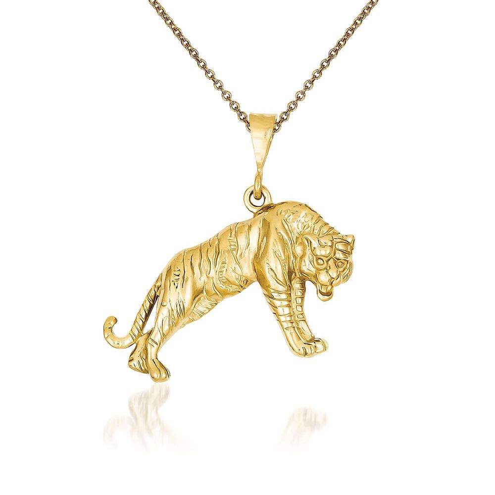 14kt Yellow Gold Tiger Pendant Necklace 18 Quot Ross Simons