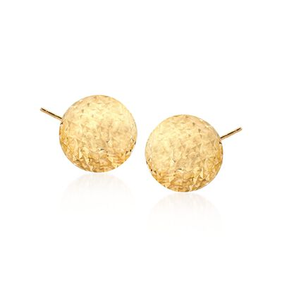 14kt Yellow Gold Diamond-Cut Dome Stud Earrings, , default