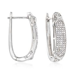 "1.00 ct. t.w. Diamond Hoop Earrings in Sterling Silver. 1"", , default"