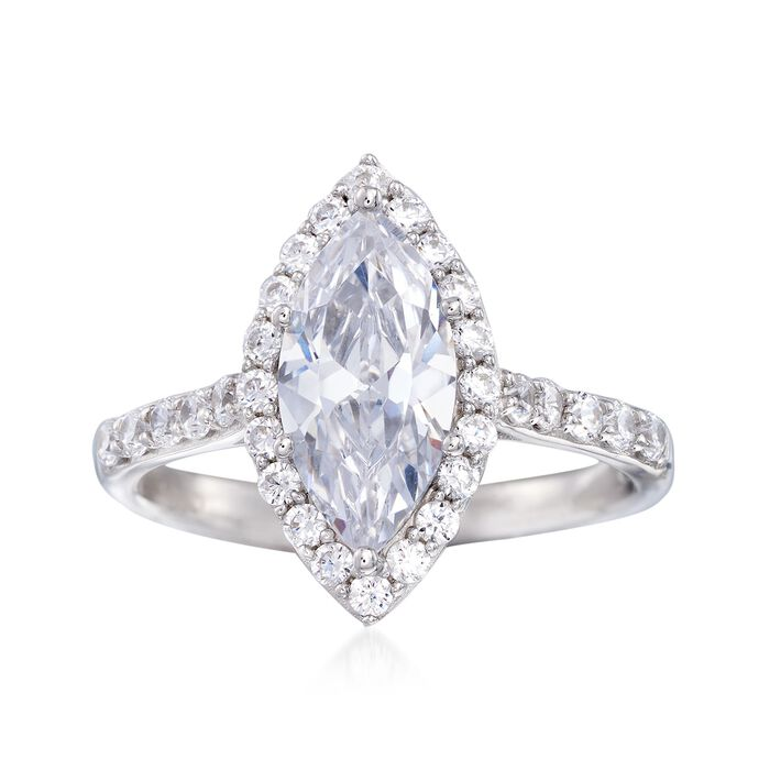 2.57 ct. t.w. Marquise and Round CZ Halo Ring in Sterling Silver, , default