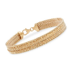 Italian 18kt Yellow Gold Multi-Row Bracelet, , default