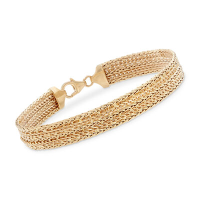 Italian 18kt Yellow Gold Multi-Row Bracelet, , default