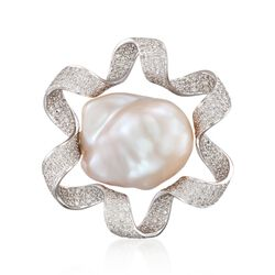 Cultured Baroque Pearl and 2.15 ct. t.w. Diamond Ribbon Pin in 18t White Gold, , default