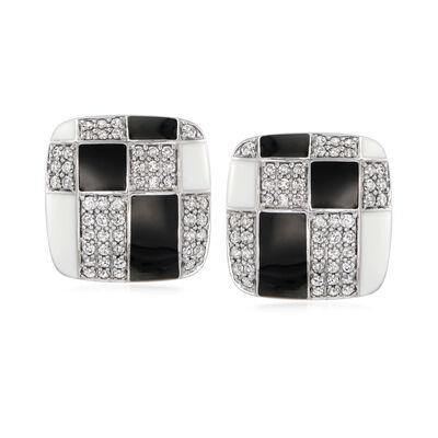 1.00 ct. t.w. Diamond and Enamel Geometric Square Earrings in Sterling Silver