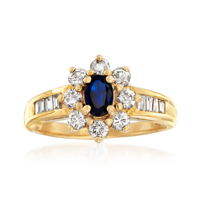 C. 1980 Vintage .95 ct. t.w. Diamond and .60 Carat Sapphire Ring in 18kt Yellow Gold, , default