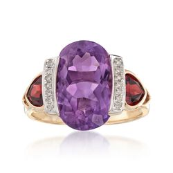 5.75 Carat Amethyst and 1.30 ct. t.w. Garnet Ring With Diamond Accents in 14kt Yellow Gold, , default