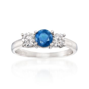 .75 Carat Sapphire and .60 ct. t.w. Diamond Ring in 14kt White Gold, , default