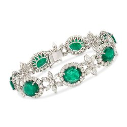 "25.00 ct. t.w. Emerald and 12.45 ct. t.w. Diamond Floral Bracelet in 18kt White Gold. 7"", , default"
