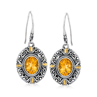 4.80 ct. t.w. Citrine Bali-Style Drop Earrings in Sterling Silver with 18kt Yellow Gold